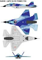 Sukhoi  LMFS SU-55 Fennec Fox. by bagera3005