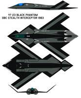 YF-23 black phantom  DBC Stealth Interceptor 1983 by bagera3005