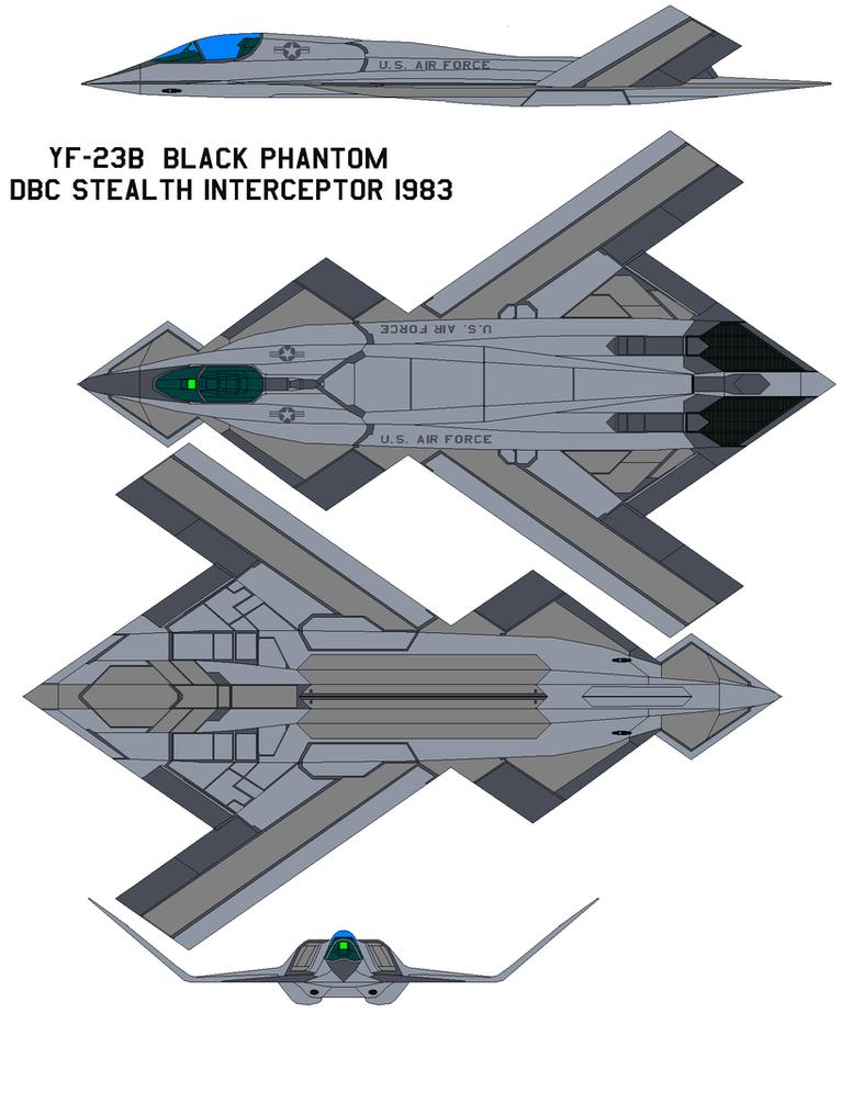 YF-23b black phantom  DBC Stealth Interceptor 1983 by bagera3005