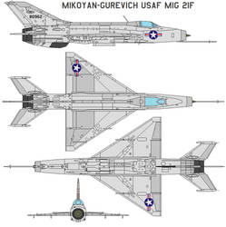 Mikoyan-Gurevich USAF MIG 21F by bagera3005