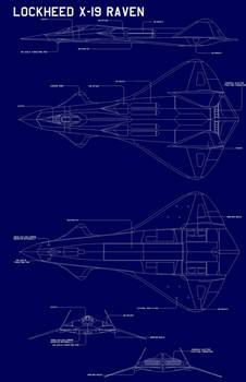 Lockheed X-19 RAVEN  blueprint  call outs