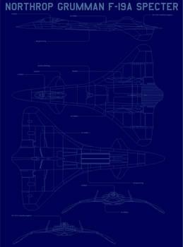 Northrop Grumman f-19  blueprint blue