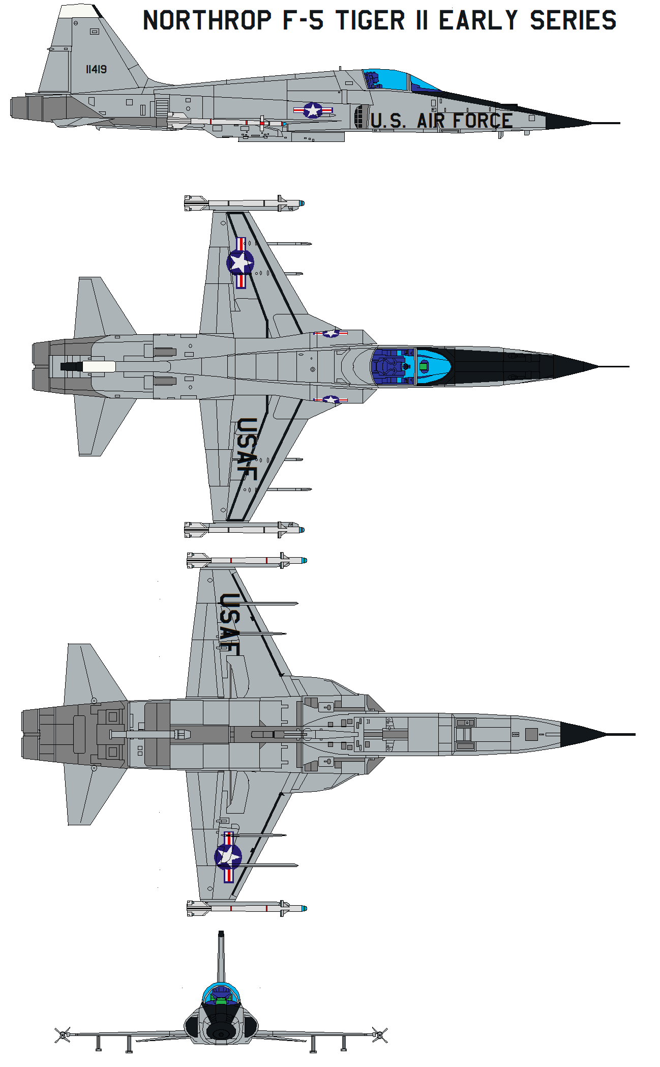 Northrop F-5 Tiger II early series by bagera3005 on DeviantArt