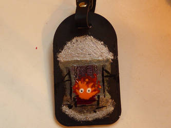 Howl's Moving Castle Calcifer Luggage tag by MonnieBiloney