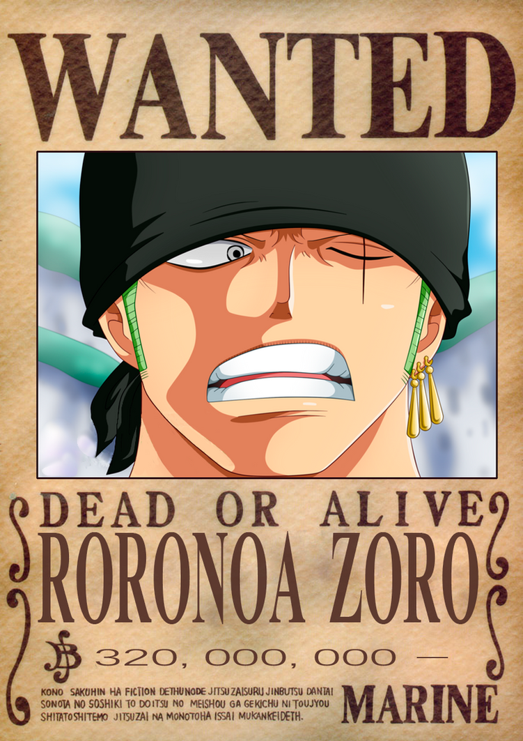 Zoro Dressrosa Wanted Poster by OliverLastra23 on DeviantArt