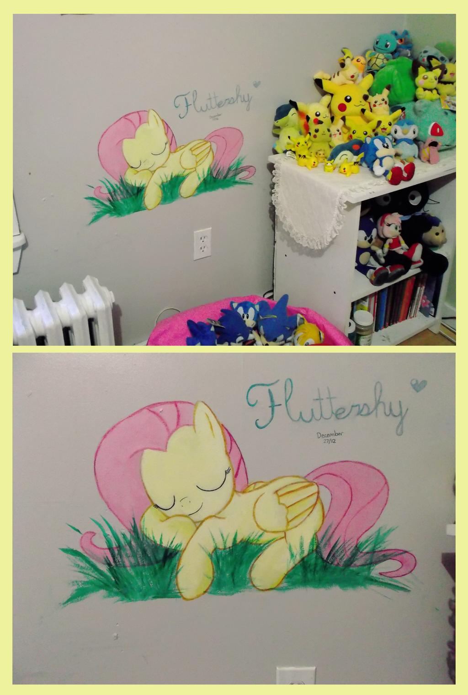 Fluttershy on my wall by Fallenpeach