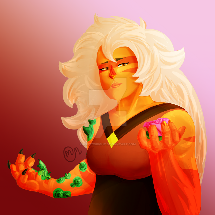I woke up, felt like drawing Jasper, and after about 9 hours of drawing, here she is. I was definitely experimenting with color and shading here, so this kind of lighting might not show up in futur...