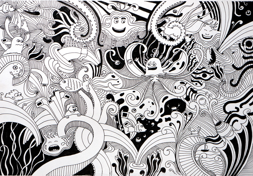 Открытки с графикой черно-белой 77
