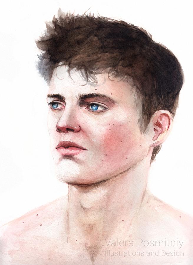 Watercolor portrait by valpos