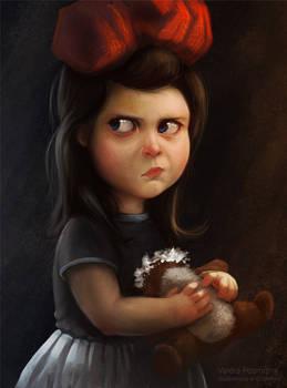 Girl with broken teddy bear