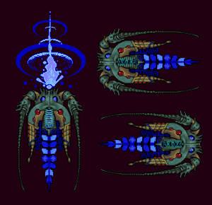 Pixel Game Horseshoe Crab Alien Ship Boss