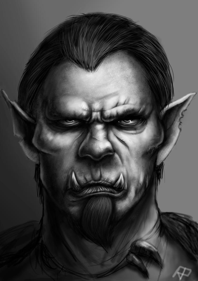 Half Orc Portrait Orc portrait by RPiedra