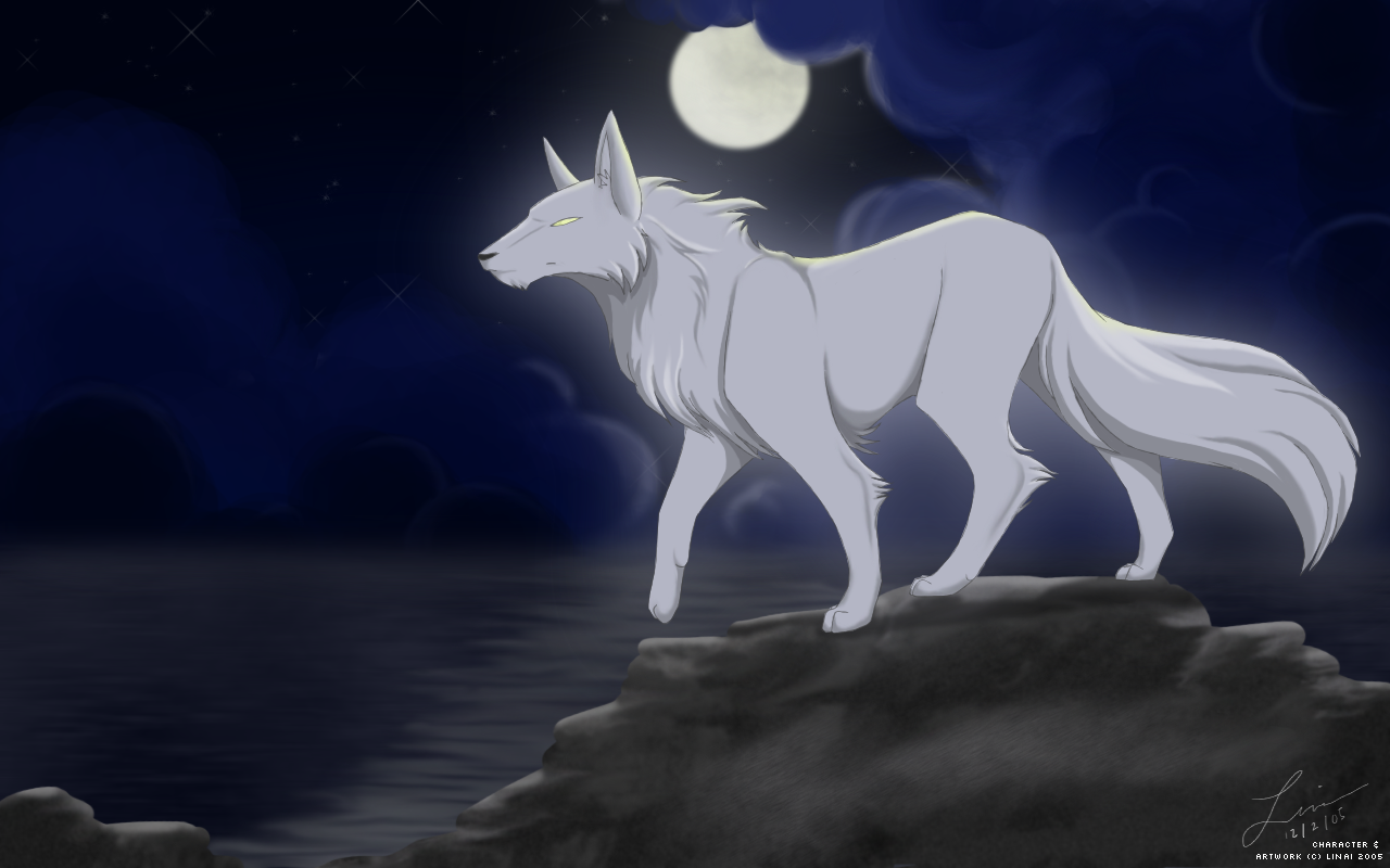 Anime Girl With White Wolves Black And White Wolf Anime