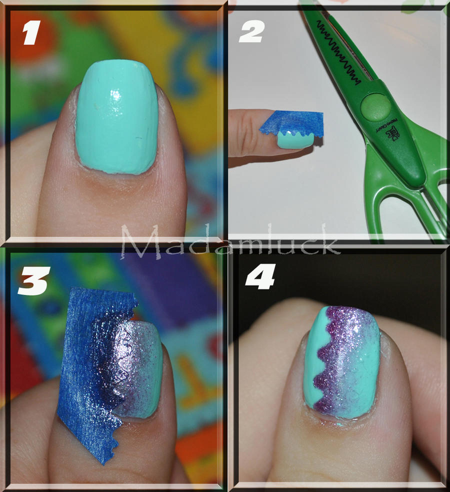 A different style of gradient nail art - tutorial by MadamLuck
