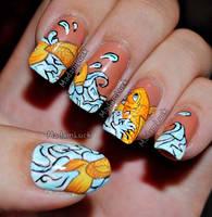 Koi Fish Nail Art by MadamLuck
