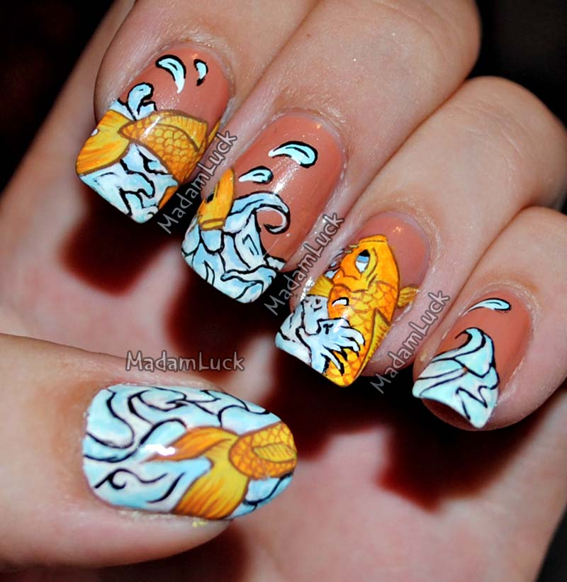 Koi Fish Nail Art by MadamLuck on DeviantArt