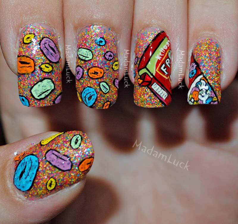Fruit loops nail art by MadamLuck