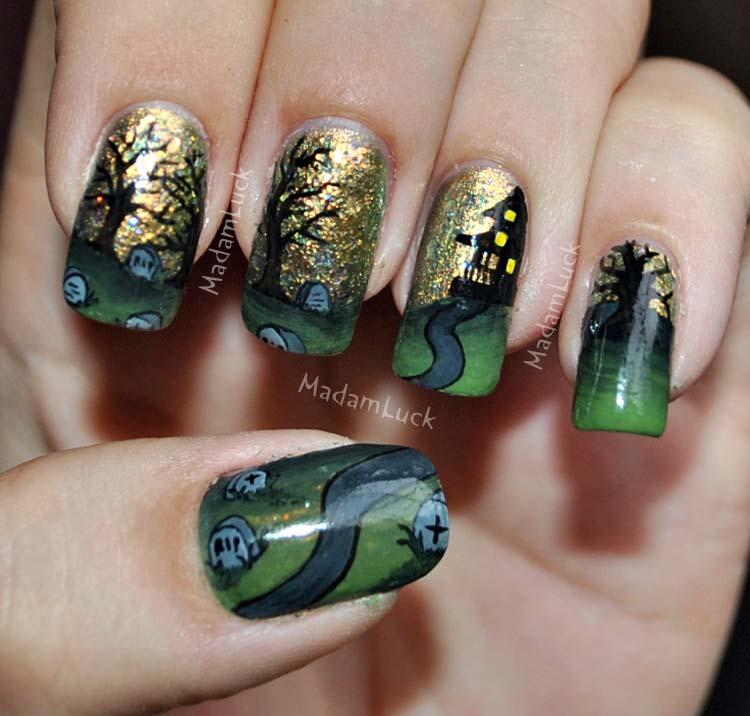 Halloween inspired nail art by MadamLuck on DeviantArt