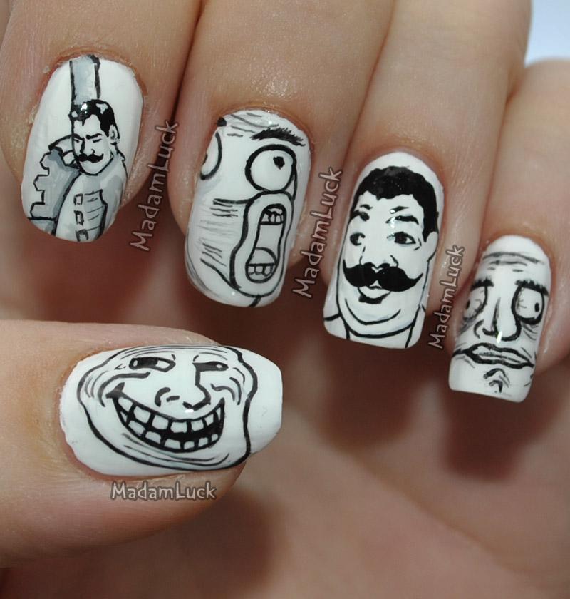 Meme Faces nail art by MadamLuck