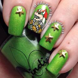 Bowser nail art