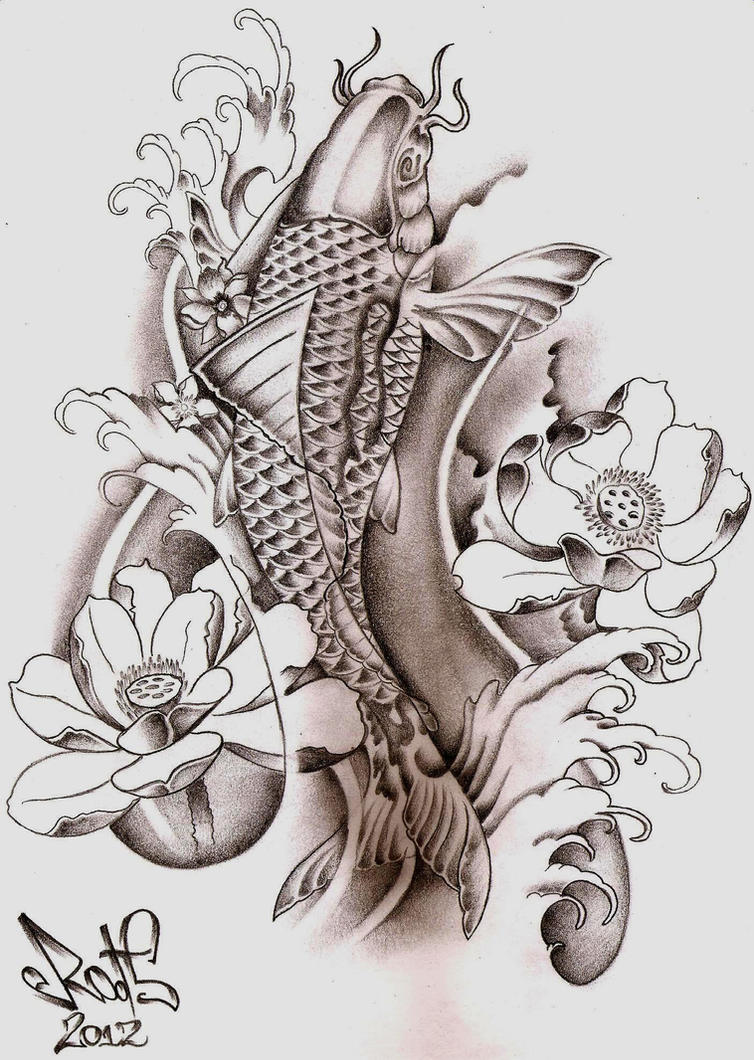 Koi fish tattoo sketch by hilcar2 on deviantart for Koi fish sketch