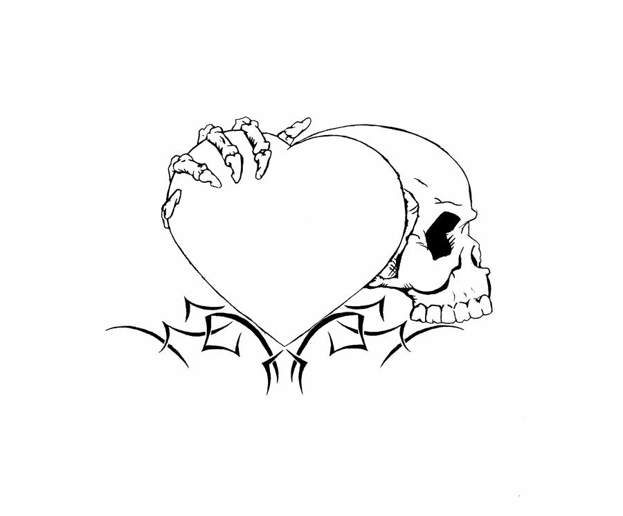 Heart skull Tattoo unfinished