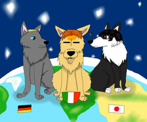 Hetalia: The axis as wolves by magicwolf2012