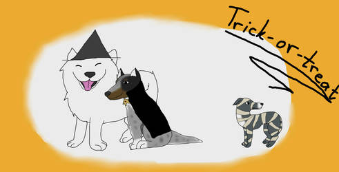 Trick-or-treat Dogs by magicwolf2012