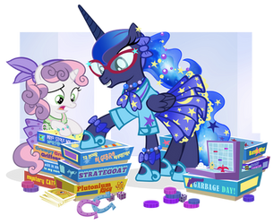 Fifties Princess Luna and Sweetie Belle for JJ by PixelKitties