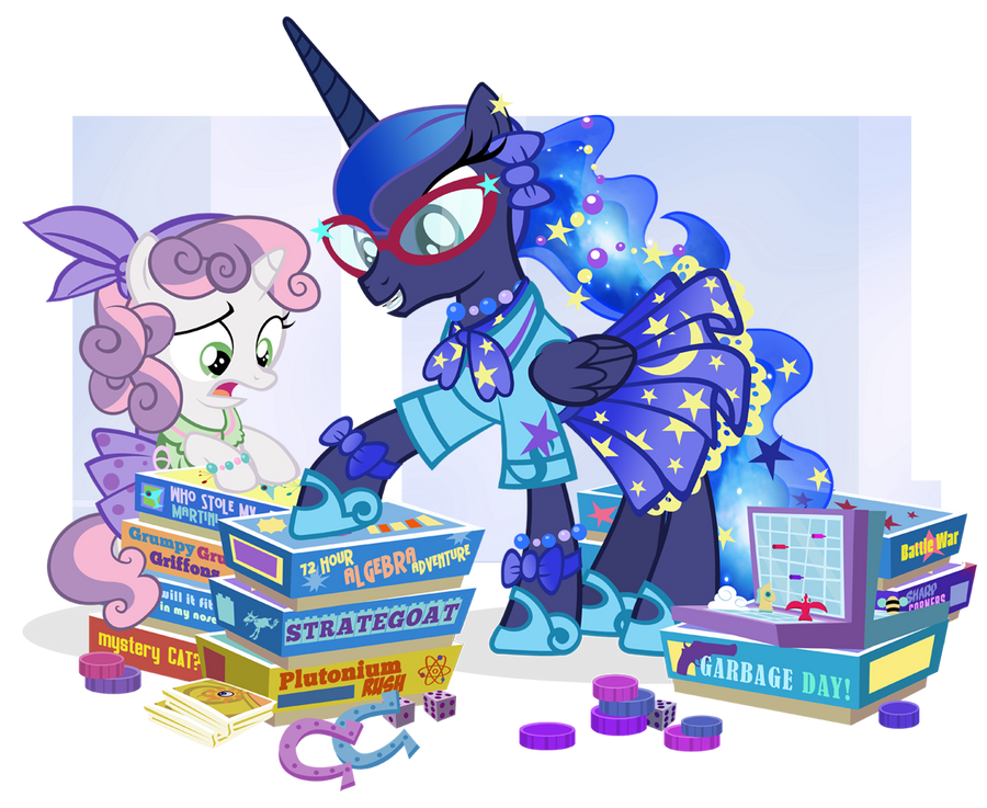 Fifties Princess Luna and Sweetie Belle for JJ by PixelKitties