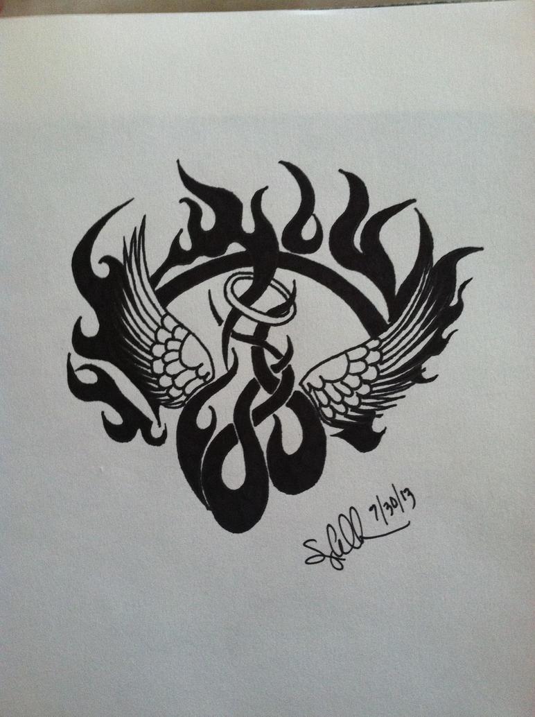 Tribal Aquarius Angel Tattoo Designs