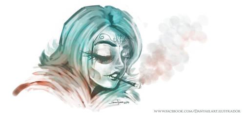 Catrina y cigarro