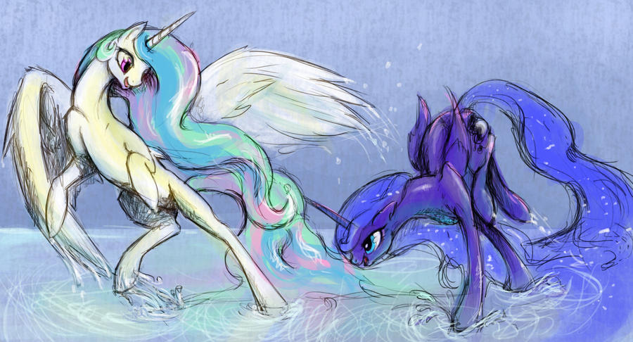 Water Fight by SilFoe