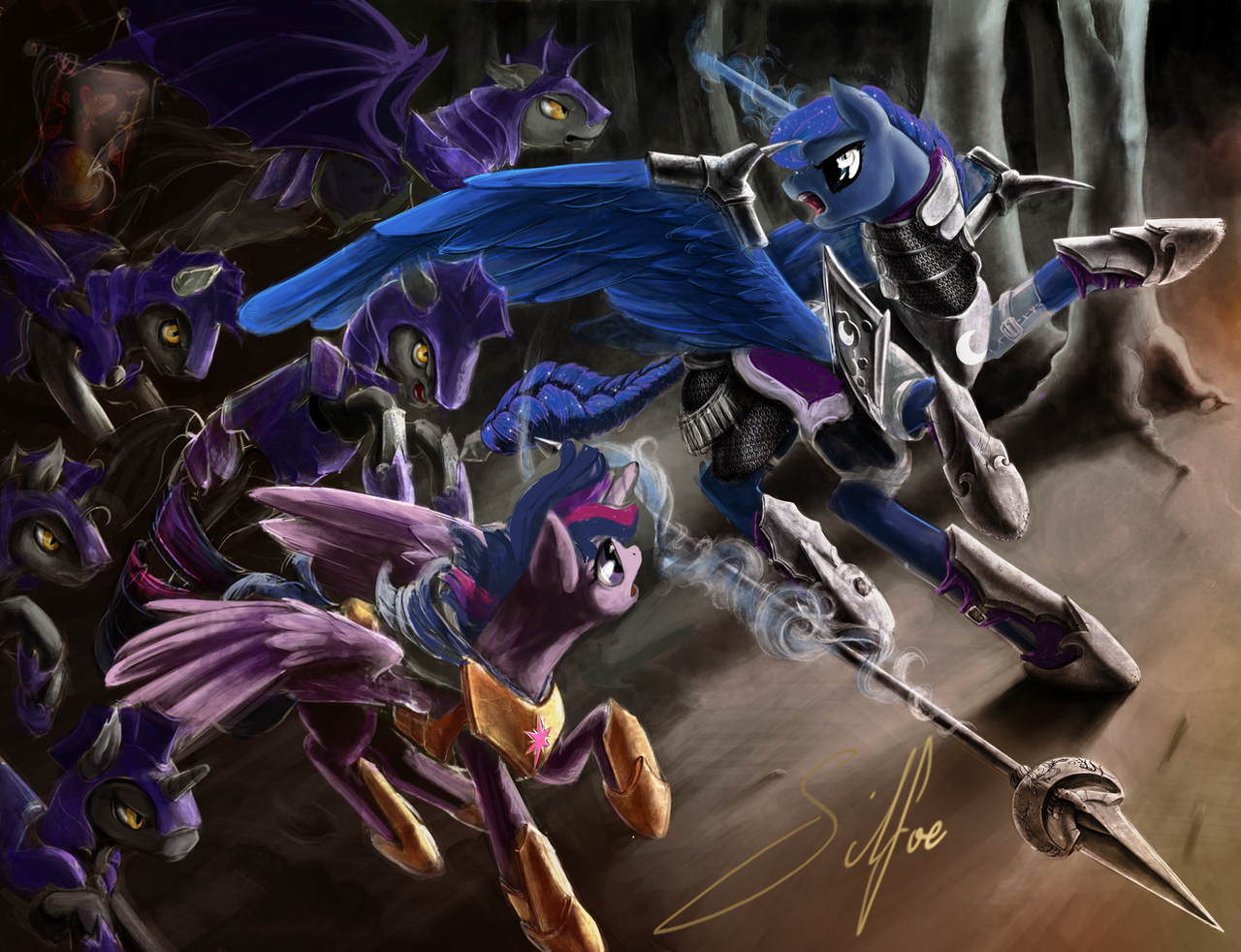 Incomplete In Defense of Equestria: Luna by SilFoe