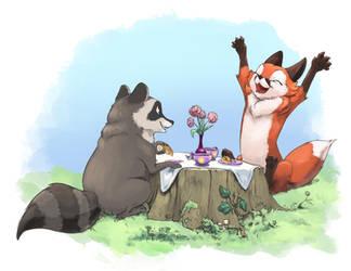 A Fox and a Raccoon