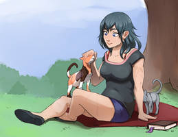 Byleth with Cats