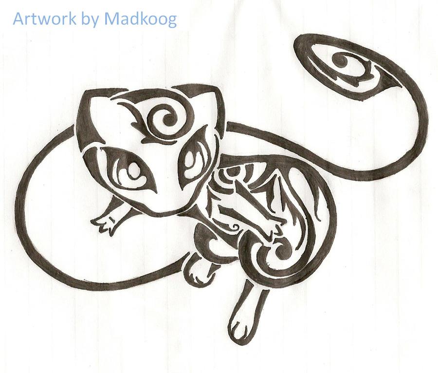 Tribal mew by madkoog on deviantart for Stencil stuff tattoo