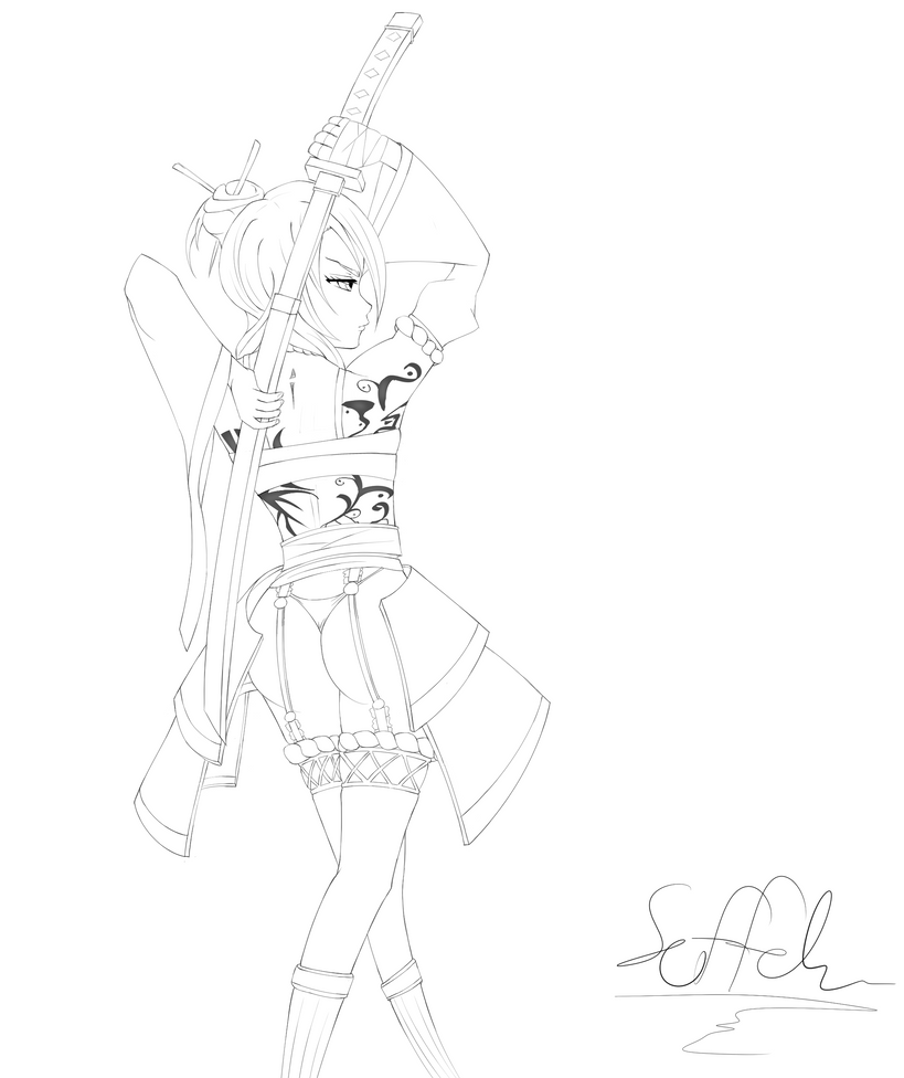 Q Line Art : Wip shrinewarrior line art by soffehato on deviantart