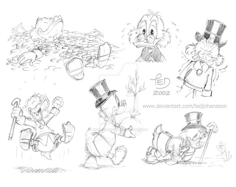Rough Scrooge sketches by TedJohansson