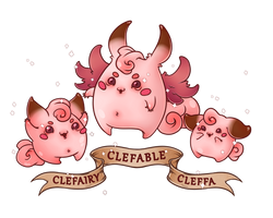 Cleffa Clefairy and Clefable by TentacleWaitress