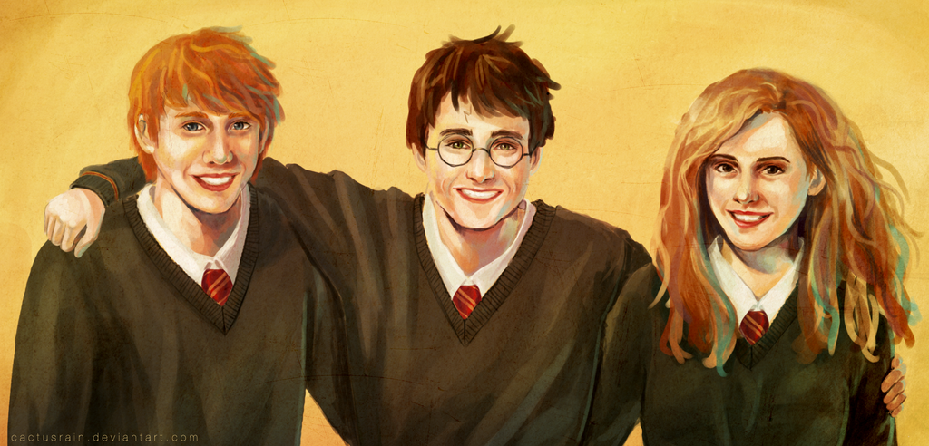 Harry Potter, Ron and Hermione by cactusrain on DeviantArt