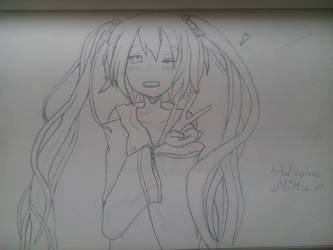 1st draw of Hatsune Miku by Shiroku-Art