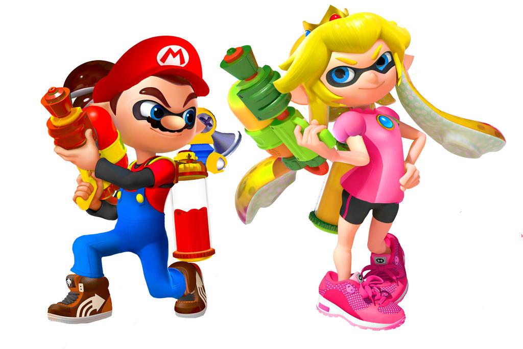 Splatoon Mario and Peach by KittRen