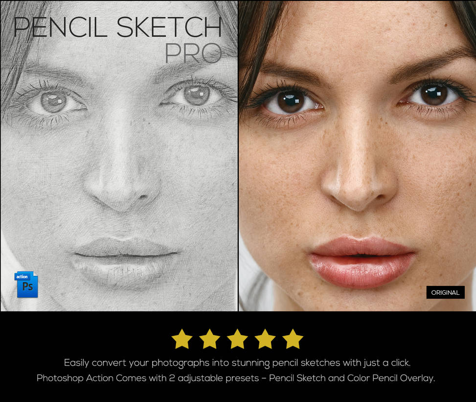 Pencil sketch pro photoshop action by kevinhamil