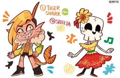 [ADOPTS] TIGER SHARK AND SKELETA! (1/2 OPEN) by Beartie