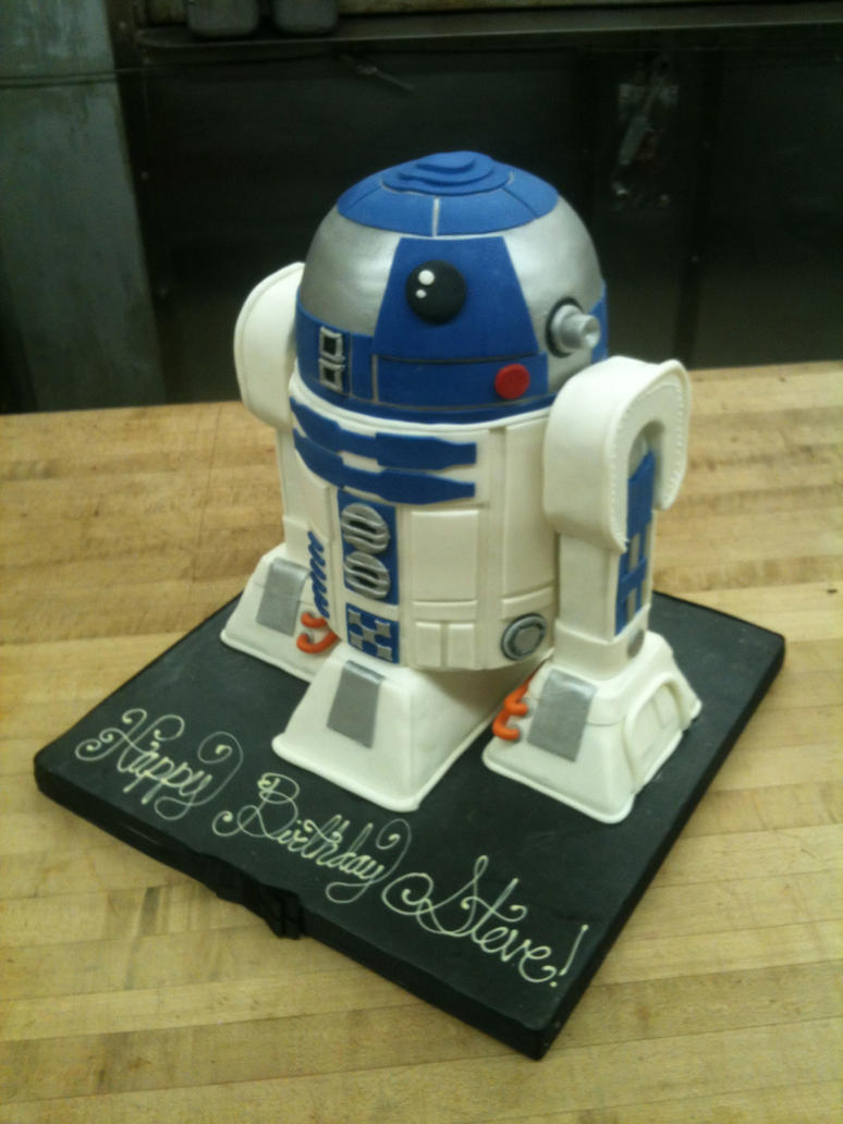 3D R2-D2 Cake view 2 by Spudnuts