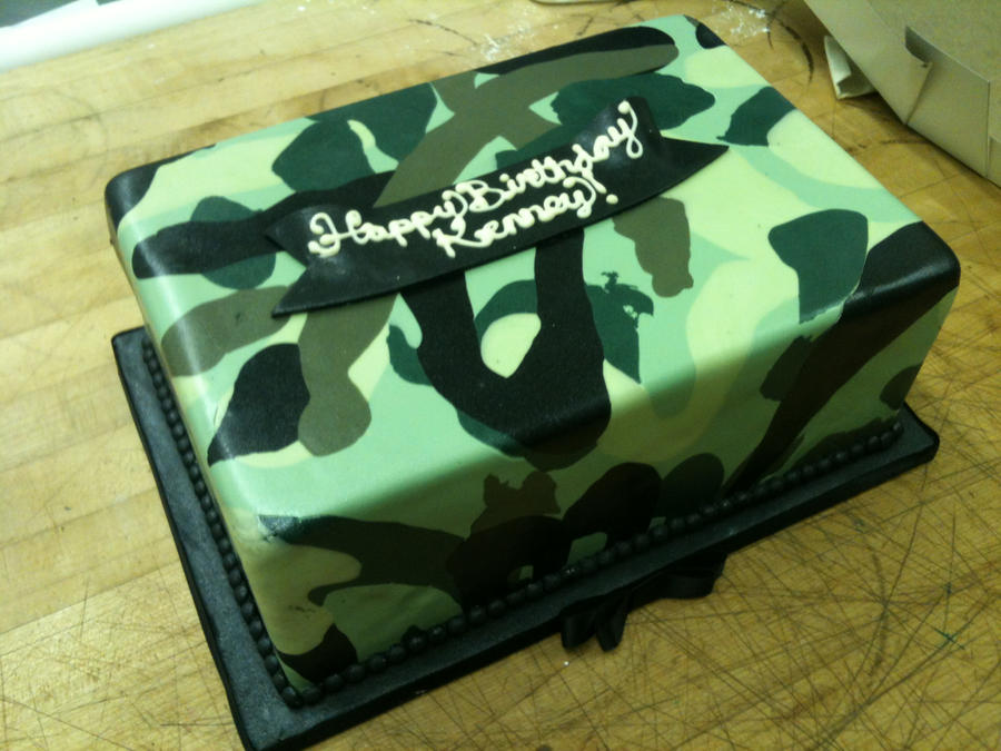 Camouflage Quater Sheet Cake by Spudnuts