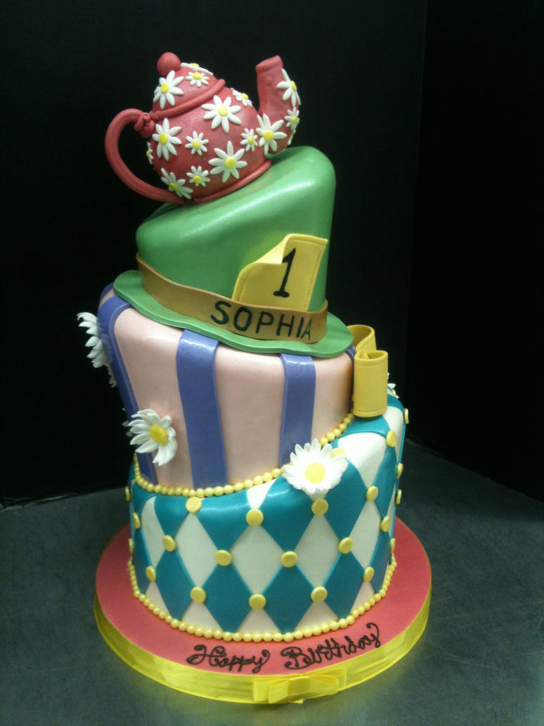 Topsy Turvy Mad Hatter Tea Party Cake By Spudnuts On Deviantart
