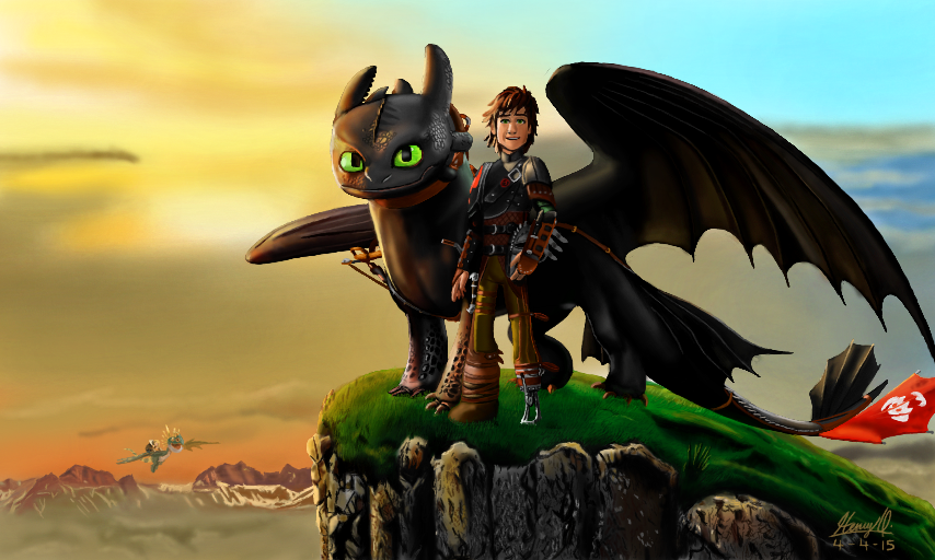 Toothless And Hiccup by WeaponX-Art