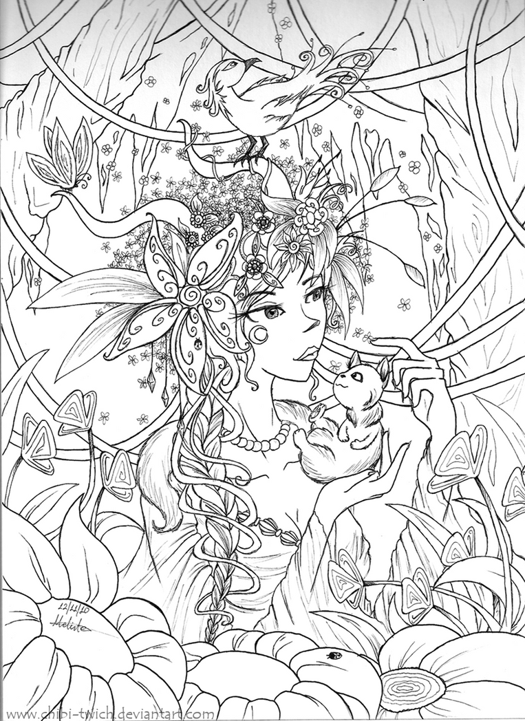 Line Art Nature : She who wears the nature by krisichiki on deviantart